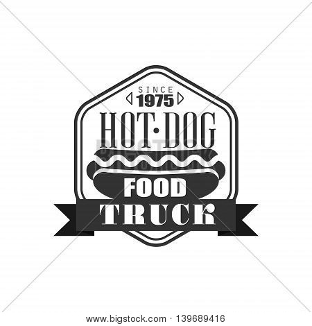 Hot Dog Truck Logo Graphic Design. Black And White Emblem Vector Print