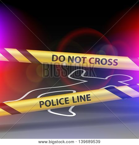 Crime scene. Do not cross. Yellow warning tape. Stock vector illustration