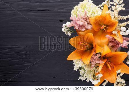 frame of flowers background black boards copyspace