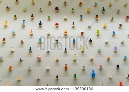 Assorted Diverse Minimally Arranged Vases On Wall Together