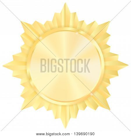 Golden medal. Shiny Order star. Empty award sign. Vector illustration isolated on white background