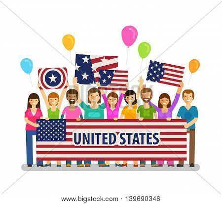USA, United States. Happy crowd people with placards at the city festival. Vector illustration