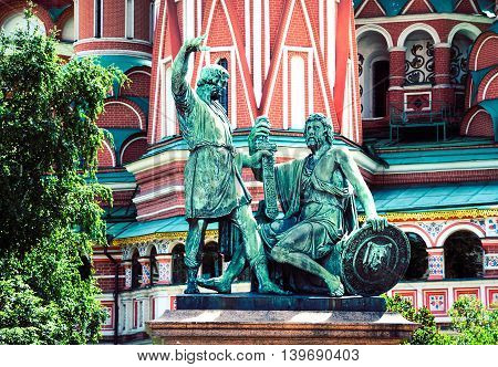 Monument to Minin and Pozharsky on the Red Square in Moscow Russia. Selective focus toned