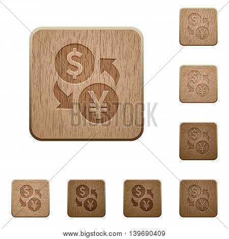 Set of carved wooden Dollar Yen exchange buttons in 8 variations.