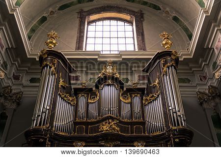 Golden Decorated Organ Inside the Historical Jesuitenkirche Germany