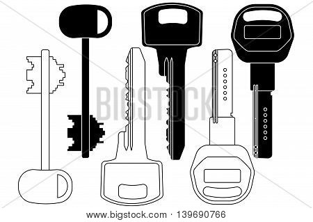 Keys icon set. Vector illustration isolated on white background.