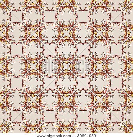 Seamless patterns of brown henna on beige background