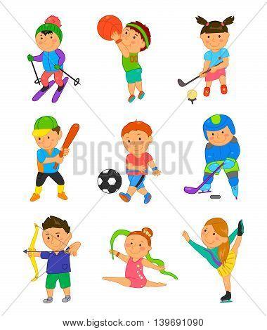 Cartoon sport kids. Vector illustration for children game design. Boy, girl isolated on white background. Set of cute bright school child clip art. Football soccer gymnastics hockey basketball golf
