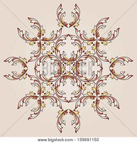 Flower pattern of brown henna on beige background
