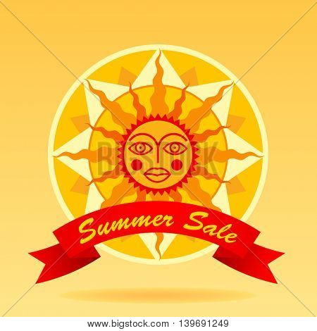 Summer sale sign with cartoon decorative sun and red ribbon. Vector Illustration