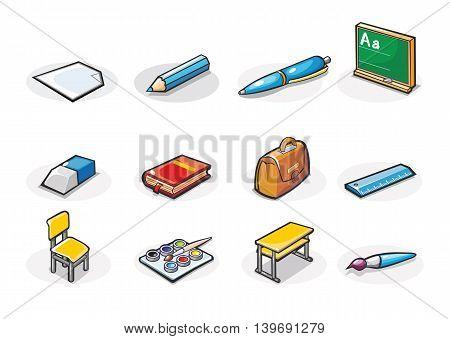 Vector icons of school supplies. Cartoon illustration.