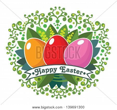 Easter eggs. Happy Easter colored card. Vector illustration.