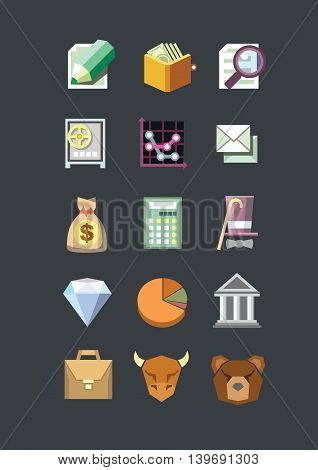 Vector business financial icons set. Flat design.