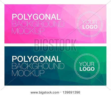 Colorful horisontal polygonal banners with logo on white