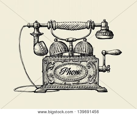 Vintage telephone. Hand drawn sketch retro phone. Vector illustration