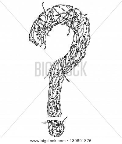 Vector question mark maid from herbs or roots.