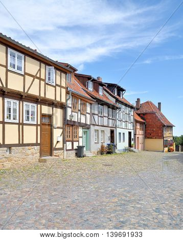 Half-Timbered Houses in Old Town of Quedlinburg,Harz,Germany