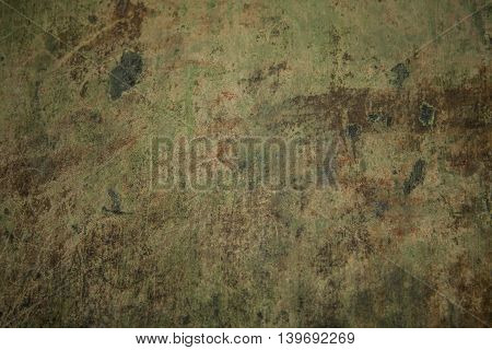 Green vintage copper background. Old metal rust texture.