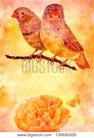 Vintage collage background texture with copyspace: a post card design template with two watercolour birds and a golden toned peony flower with a butterfly on aged paper with a place for text