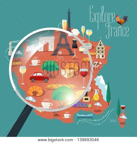 Map of France vector isolated illustration. Set of icons with French Eiffel tower, Paris symbol, croissant, baguette, Alps, other touristic landmarks. Explore, travel to France concept