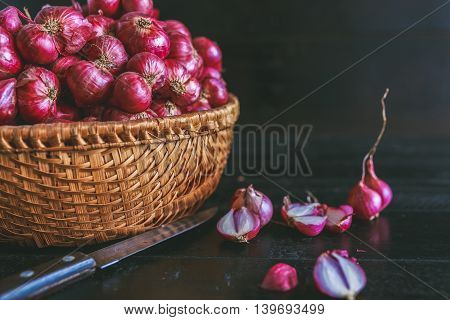 Shallots on the dark background, Spice from VietNam