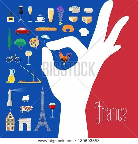 Travel to France concept illustration. Design element for poster, flyer, postcard with French landmarks as icons. French ok hand sign