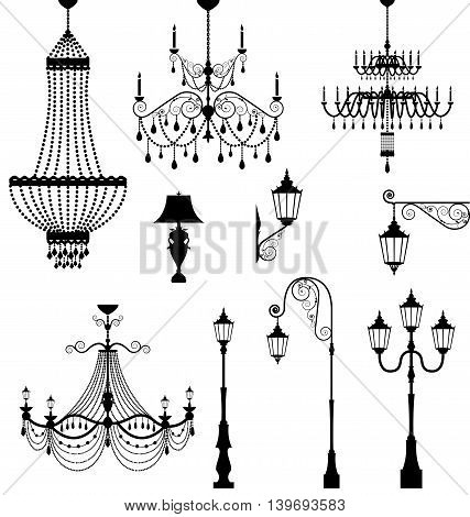 Elegant chandelier and vintage lamp set vector