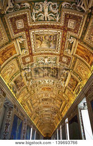 VATICAN, ROME - MARCH 02, 2016 : beautiful fresco in the museum of Vatican. March 02, 2016, in Vatican, Rome, Italy.