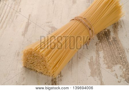 pasta on the wooden table for dinner