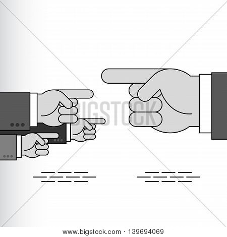 Index fingers show the directions; Group of arrow signs from the pointing hands with forefingers in the sleeves of business suits; Vector Eps8
