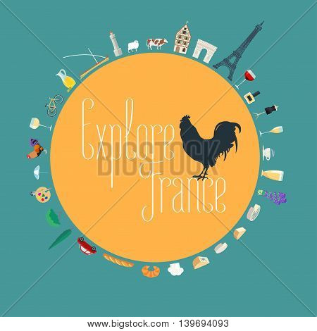 Travel to France concept illustration. Design element for poster visit France, flyer with French landmarks as icons in set. French symbol - rooster, cock