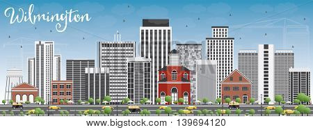 Wilmington Skyline with Gray Buildings and Blue Sky. Business Travel and Tourism Concept with Modern Buildings. Image for Presentation Banner Placard and Web Site.
