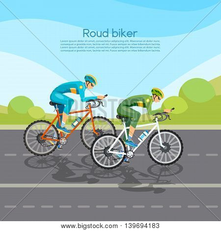 Cycle racing people on bicycles group of cyclists man in road sport background vector illustration