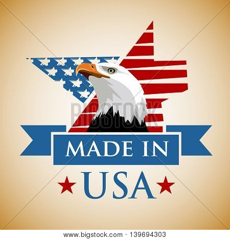 Vector composition with the symbols of the United States. Made in USA. Patriotic label USA.