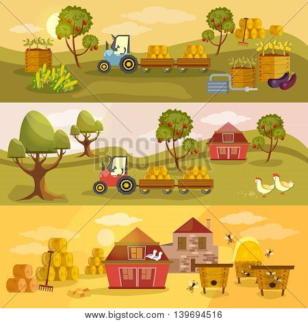 Farm agriculture banner natural food farmer products rural landscape old barn and field cartoon vector illustration