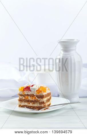 Honey Cake With Strawberries And Orange