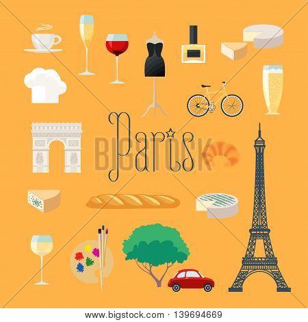 Travel to France, Paris vector icons set. French Parisian landmarks, Eiffel tower arch Triumph, dress croissant, baguette, coffee