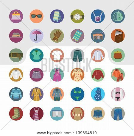 Vector set of icons of clothing and accessories. Flat design.
