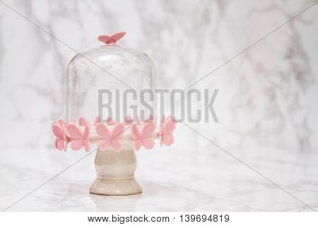 Empty Bell Jar With Pink Butterfly Design