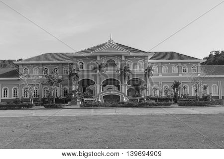 Phuket, Thailand - March 26, 2016: Phuket Mine Museum building (with black and white color)
