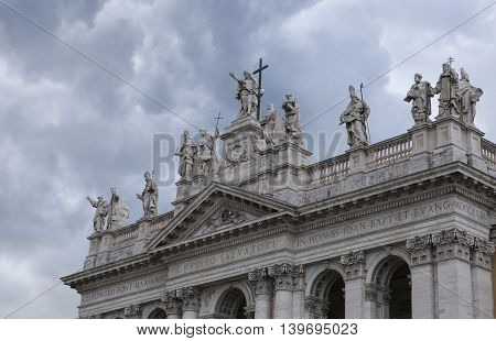 Sculptures above the entrance to the Lateran Basilic, Rome