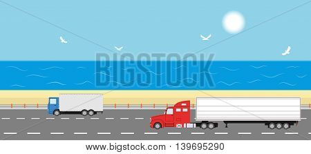 Truck on the road. Sea shore landscape. Two heavy trailer trucks. Logistic and delivery concept. Vector illustration.