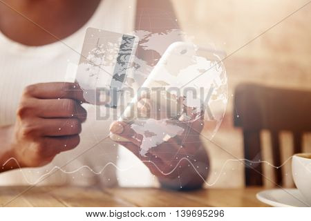 Double Exposure, Visual Effects. Woman Verifying Account Balance On Smart Phone With Mobile Banking