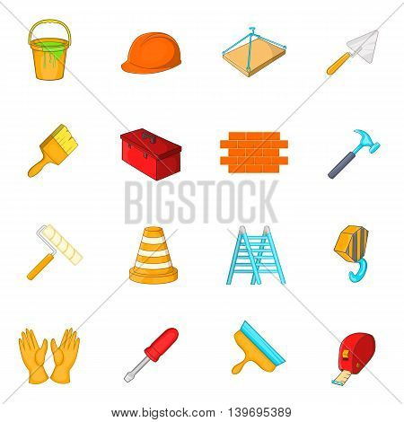 Working tools icons set in cartoon style. Construction elements set collection vector illustration