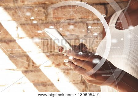 Visual Effects. People And Technology. Cropped Portrait Of African Woman's Hands Holding A Web-enabl
