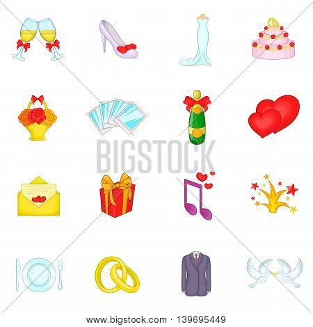 Wedding icons set in cartoon style. Love and romantic events set collection vector illustration