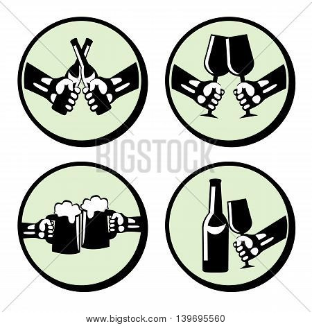 Set hands with drink. Retro styled vector icons.