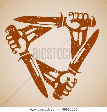 Hands with knives a triangle. Retro styled grunge vector icons.