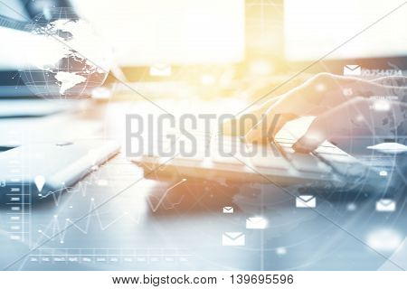 Double Exposure Of Female Student Keyboarding On Futuristic Laptop, Working On Diploma Project While