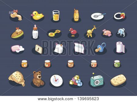 Vector set of baby icons. Cartoon illustration.